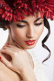 Model with red wreath Stock Photography