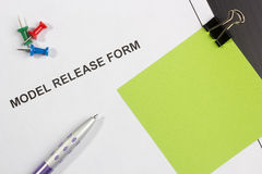 Model Release Form. Directly above photograph of a model release form Royalty Free Stock Photo