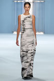 Model Renata Zandonadi walks the runway wearing Carolina Herrera Fall 2015 Collection Royalty Free Stock Photos