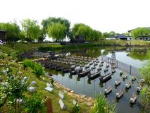 Model replicas of Chinese water battle of three kingdoms Stock Images