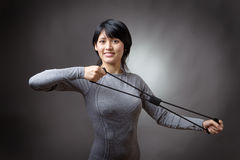 Model with resistance band Stock Images