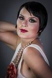 Model, Retro posing lady,  flapper dress, Girl dreaming beautifu Royalty Free Stock Photos