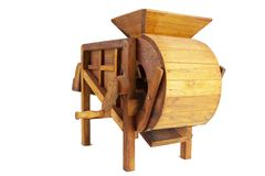 Model rice mill from wooden for thai farmer in thailand. Ancient, machine, old, background, equipment, nature, milling, white, antique, culture, rural, water royalty free stock photos