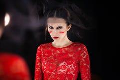 Model robi makeup fotografii studiu Zdjęcia Stock