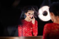 Model robi makeup fotografii studiu Obraz Stock