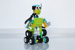 Model a robot with your own hands. Child development stock images
