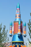 Model rocket. The model rocket in children's paradise Stock Photo