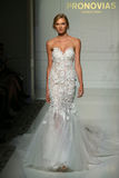 Model Romee Strijd walk the runway during the Pronovias Fall/Winter 2016 Couture Bridal Collection runway show Royalty Free Stock Photos