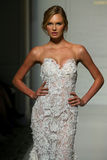 Model Romee Strijd walk the runway during the Pronovias Fall/Winter 2016 Couture Bridal Collection runway show Stock Photography