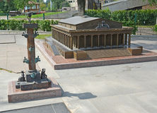 The model of the Rostral column and the Exchange building to St. Stock Photography