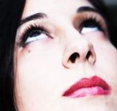 Model´s Gesicht mit Lippenstift Lizenzfreies Stockfoto