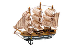 Model of a sailboat. Model of sailboat made of wood and linen Royalty Free Stock Images