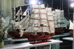 Model of a sailboat in the interior royalty free stock photos