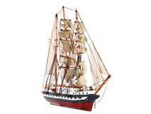 Model of sailing frigate. Isolated. Model of sailing frigate. Isolated over white Stock Photos