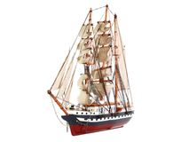Model of sailing frigate. Isolated. Royalty Free Stock Photos