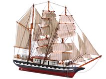 Model of sailing frigate. Isolated. Stock Images