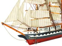Model of sailing frigate. Isolated. Stock Photos