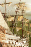 Model of sailing ship made of wood and cloth Stock Images