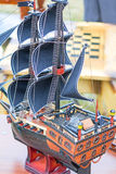 The model of a sailing vessel is photographed by a close up Royalty Free Stock Photography