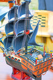 The model of a sailing vessel is photographed by a close up Stock Photo