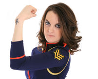 Portrait of woman in sailor suit Royalty Free Stock Photo