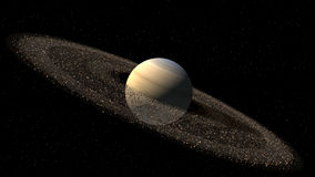 Model of Saturn like planet. With asteroid rings for a space background Stock Images