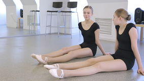 In model school females are preparing for dance class. stock footage