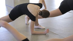 In model school women are stretching doing exercises. Beautiful and young females are standing on knee lifting up hips turning back to side and head training stock video