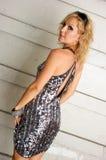 model sequined sexigt för klänning royaltyfri fotografi