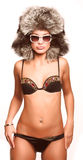 Model in sexy winter outfit Royalty Free Stock Photo