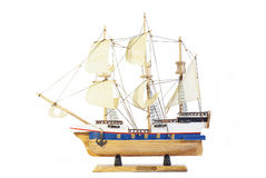 Model of ship. With sails on a white background Royalty Free Stock Photography