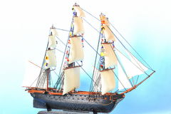 Model ship with sails. Model of a historic french ship from Napoleons fleet stock image