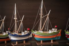 Model Ships at a Gift Shop Stock Images