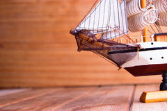 Model of ships on the wooden table Stock Image