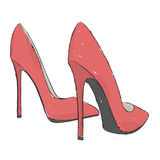 Model shoes. Hand draw  illustration. Stock Image