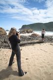 Model shoot at The Heads beach in Knysna Royalty Free Stock Images