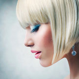 Model with short Blond hair royalty free stock photos