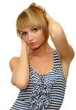 Model with short blond hair. Beautiful model with short blond hair royalty free stock images