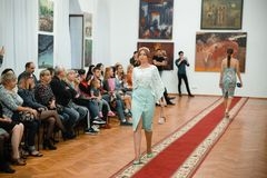 Model show of spring clothes September 9, 2018 in Cherkasy Ukraine Free entrance royalty free stock photography