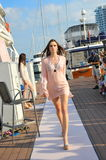 Model showcasing designs by Skin Resort Fashion at the Singapore Yacht Show 2013 Stock Photography
