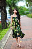 Model showcasing vibrant and luxurious designs by Camilla (with Wattletree) during Singapore Yacht Show fashion event Royalty Free Stock Photo