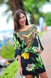 Model showcasing vibrant and luxurious designs by Camilla (with Wattletree) during Singapore Yacht Show fashion event. SINGAPORE - APRIL 12: Model showcasing Royalty Free Stock Photography