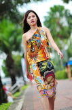 Model showcasing vibrant and luxurious designs by Camilla (with Wattletree) during Singapore Yacht Show fashion event Royalty Free Stock Images
