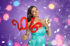 Model showing decorative sign of New Year Stock Photos