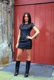 Model showing leather dress. Streetstyle fashion. stock image