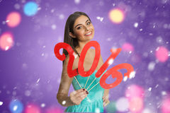 Model showing red sign of New Year Royalty Free Stock Images