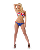 Model shows swimsuit painted in colors of UK flag Royalty Free Stock Photography