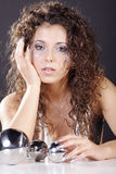 Model in silver with big balls Royalty Free Stock Image