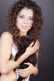 Model in silver with cats Royalty Free Stock Photos