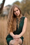 Beautiful, attractive, lovely, cute, girl,woman with curly long hair. Royalty Free Stock Photography